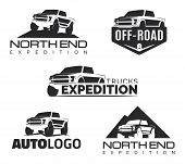 Постер, плакат: Set Of Modern Suv Pickup Emblems Icons And Logos