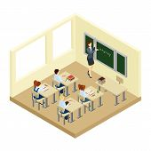 School Isometric Illustration poster