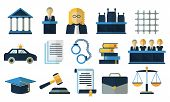 Постер, плакат: Law and justice flat vector icons