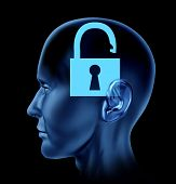 Blue human head with open lock symbol.