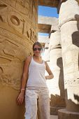 Tourist At Great Hypostyle Hall At Karnak Temple