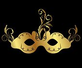 Gold Floral Carnival Mask Isolated
