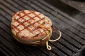 stock photo of chateaubriand  - Tenderloin steak with bacon on grill pan - JPG