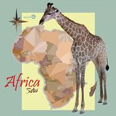 Постер, плакат: map of Africa concept map with countries image of a giraffe imitation vintage political map of Afr