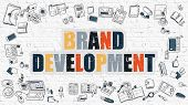 Постер, плакат: Brand Development in Multicolor Doodle Design
