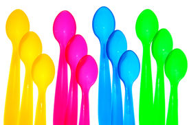 stock photo of green-blue  - Twelve colorful spoons on a white background - JPG