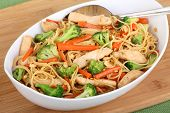 stock photo of lo mein  - Chicken lo mein with carrots and broccoli in a bowl - JPG