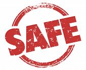 Safe Round Red Grunge Style Stamp Safety Secure Guarantee Illustration poster