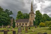 St Mary's Church with gaveyard in Cotswolds, Lower Slaughter, UK