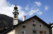 foto of engadine  - Spire of the loccal church Samedan Upper Engadin Grisons Switzerland - JPG