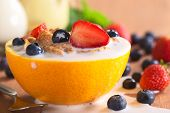 Milk on Cereal and Fruits