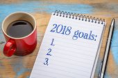 2018 goalslist in notebook a spiral notebook with a cup of coffee, goal setting and resolutions conc poster