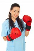 Doctor Woman With Boxing Gloves