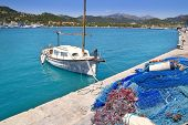 Andratx port marina with llaut boat in Mallorca balearic islands