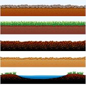 Vector Illustration of Ground parts cutaway: field of grass, stones roadway, desert sands, cobblesto