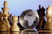 Globo en tablero de ajedrez