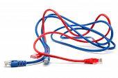 Постер, плакат: Синий и красный сетевые кабели