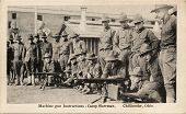 Machine Gun Instructions - Early 1900's WWI postcard depicting soldiers receiving machine gun instru