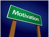 Motivation Green Road Sign Illustration on a Radiant Blue Background.