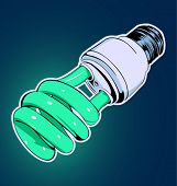 background with green energy-efficient electric bulb