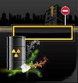 vector icon barrels of radioactive contents, mark