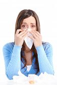 stock photo of snot  - Young woman having flu or allergy - JPG