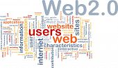 Background concept wordcloud illustration of web 2.0