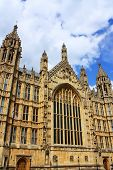 Outside view of Westminister in London, England. It is the famous Houses of Parliament in the capital city London.