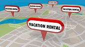 Vacation Rentals Getaway Stay Map Pins Locations 3d Illustration poster