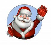 image of santa-claus  - A cartoon Santa Claus waves through a circle  - JPG