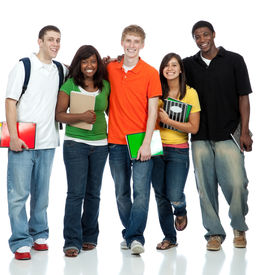 stock photo of teenage boys  - Multicultural College students - JPG
