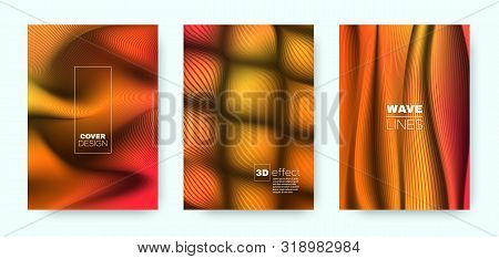poster of Red Fluid Cover. Colorful Design Shapes. Movement Vibrant Lines. Red 3d Brochure. Fluid Vibrant Line