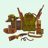 Hunter Equipment Vector Illustration. Huntsman Amunition Collection. Flat Colored Military Hunter Eq poster