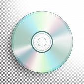 Dvd Disc . Realistic Compact Cd Disc Mock Up Isolated On Background. Music Plastic Sound Data. Video poster