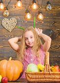 Harvest Festival Concept. Child Little Girl Enjoy Farm Life. Organic Gardening. Kid Farmer With Harv poster