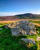 Lordenshaws Prehistoric Rock And Simonside Hills Portrait, The Hillfort Is Located Near Rothbury In  poster