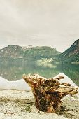 Tourism Vacation And Travel. Mountains Landscape And Lake Oppstrynsvatnet In Jostedalsbreen National poster