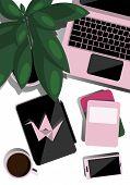 Desktop Top View. Flat Illustration For Business, Education. Creative Layout. Desktop With Laptop, T poster