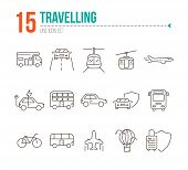 Travelling Line Icon Set. Airplane, Bus, Double Decker, Camper Van, Car. Vacation Concept. Can Be Us poster
