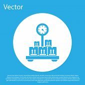 Blue Scale With Cardboard Box Icon Isolated On Blue Background. Logistic And Delivery. Weight Of Del poster