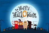 Happy Halloween Scary Text With Kids In Halloween Costume On Spooky Night Landscape Under Moonlight. poster