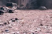 NEW YORK - SEPTEMBER 11: Ash covers the ground near the area known as Ground Zero after the collapse