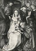 Adoração dos Magos. Gravura por Bod de imagens por Hans Holbein. Publicado na revista
