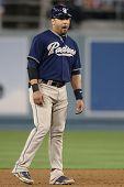 LOS ANGELES - SEP 22: San Diego Padres catcher #8 Yorvit Torrealba during the Padres vs. Dodgers gam