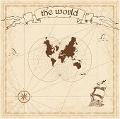 World Pirate Map. Ancient Style Navigation Atlas. Augusts Epicycloidal Conformal Projection. Old Ma poster