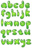 Green lower case bubble-shaped alphabet
