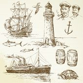 nautical elements - hand drawn set