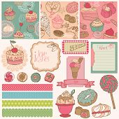 Scrapbook Design Elements - Cakes, Sweets and Desserts - in vector