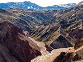 Landmannalaugar National Park - Iceland. Rainbow Mountains. Aerial View Of Beautiful Colorful Volcan poster