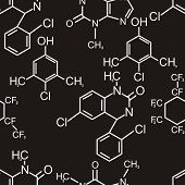 Chemical formula. Seamless pattern